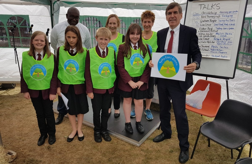 DR with Manny Botwe, and members of Tytherington High School's 'Tythy Goes Green' group.