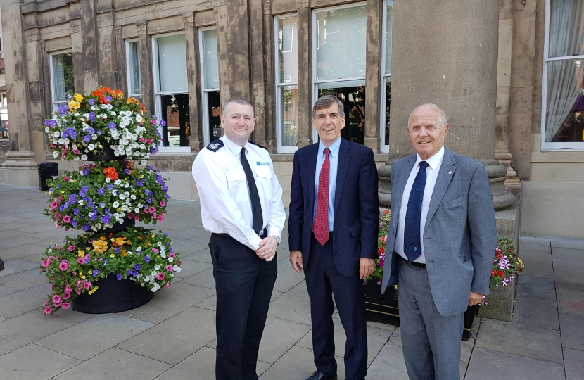 David Rutley MP with Cheshire Chief Fire Officer, Mark Cashin, and the Chair of Cheshire Fire Authority, Councillor Bob Rudd