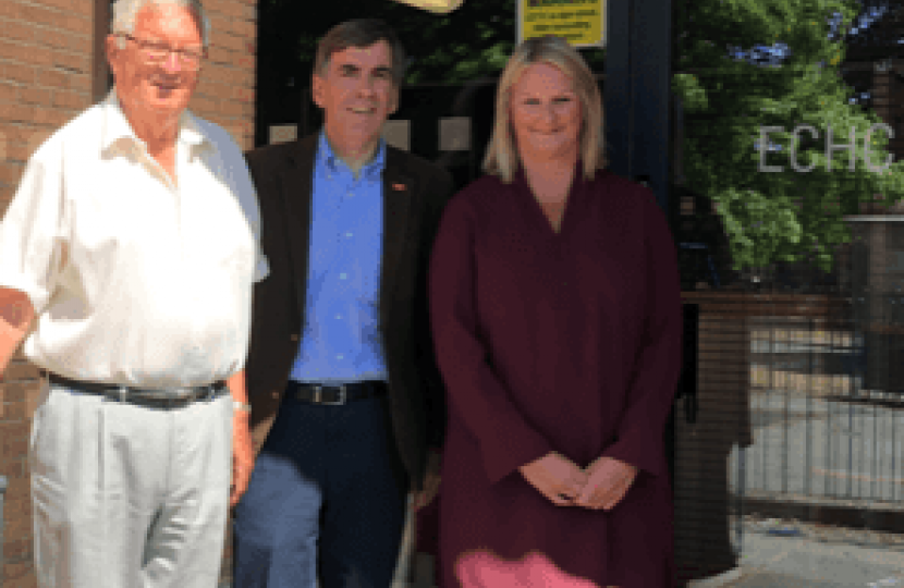 David Rutley MP with Jim Bissett, Chairman of East Cheshire Housing Consortium, and Brenda Wright, the organisation's Chief Executive.