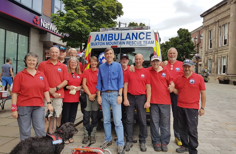 David Rutley MP with members of Buxton Mountain Rescue Team at the fundraising event in Macclesfield town centre recently