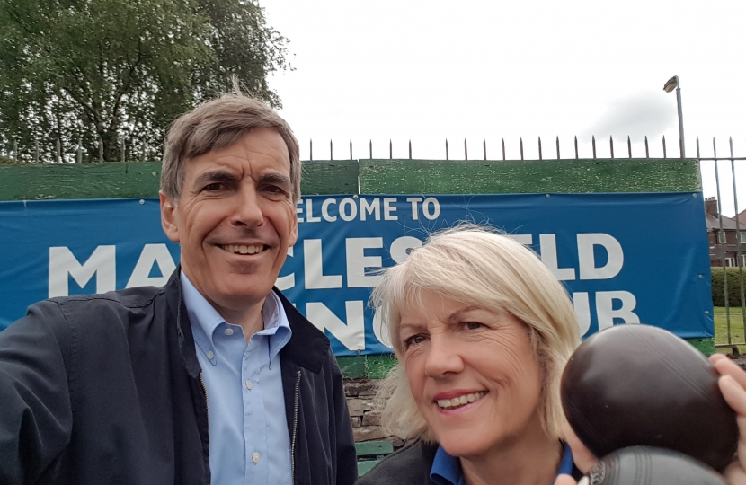 David Rutley MP with Macclesfield Bowling Club President Sue Munslow