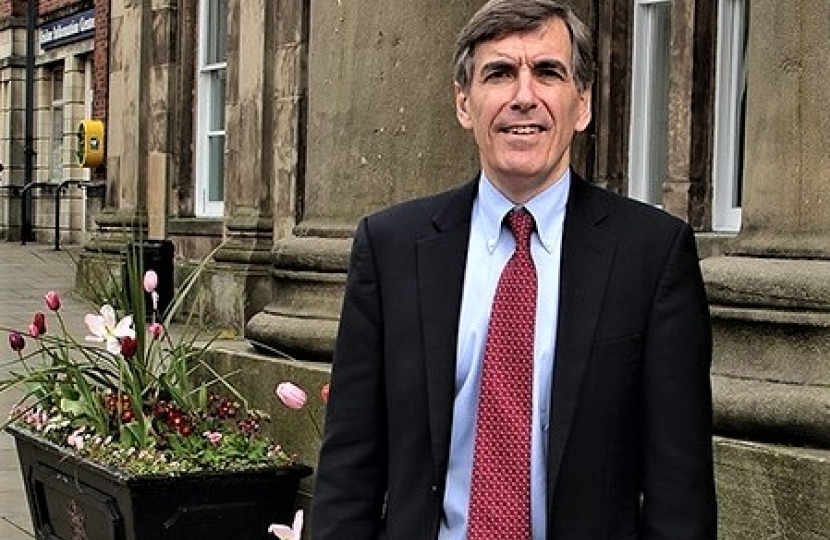 David Rutley MP outside Macclesfield Town Hall June 2017