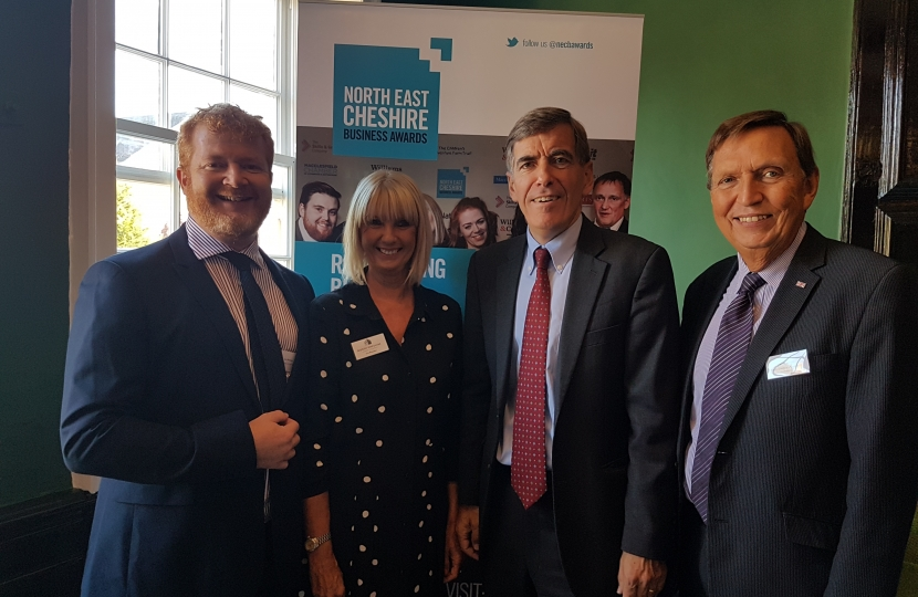 David Rutley MP with, l-r, Ian Pinches (Pinches Medical), Sue Bowden (Chief Executive, North Cheshire Chamber of Commerce and Enterprise), and Nigel Schofield (Board Member, North Cheshire Chamber of Commerce and Enterprise)