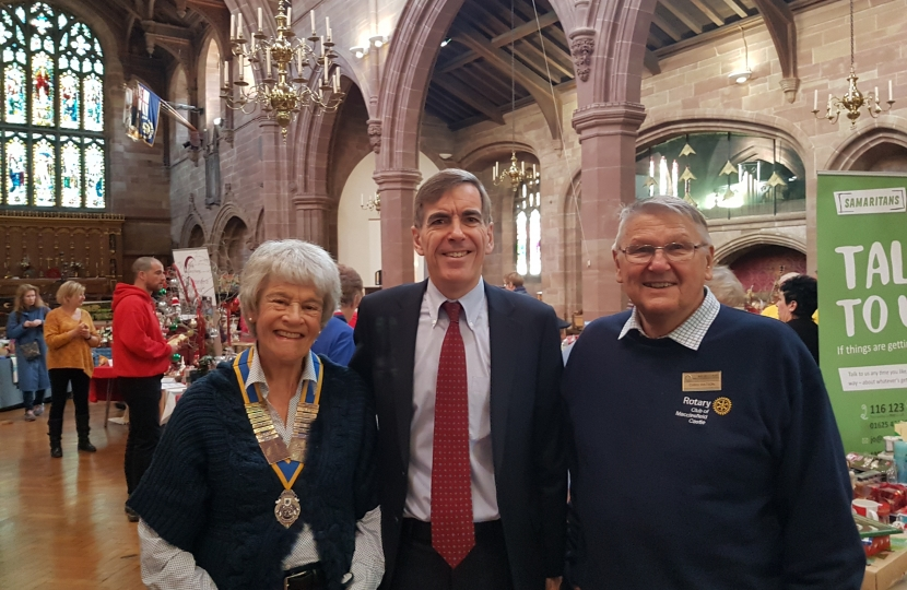 David Rutley MP with Macclesfield Castle Rotary Club's President, Carole Murphy, and its Communities Chair, Chris Watson
