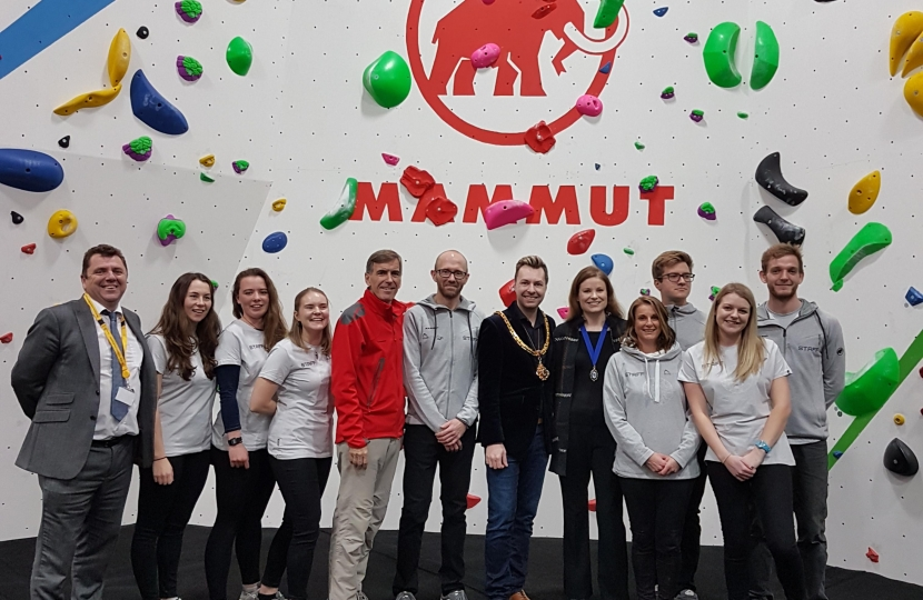 David Rutley MP with staff at Substation Bouldering, as well as the Mayor of Macclesfield, Cllr Adam Schofield, and his consort, Mrs Heather Schofield