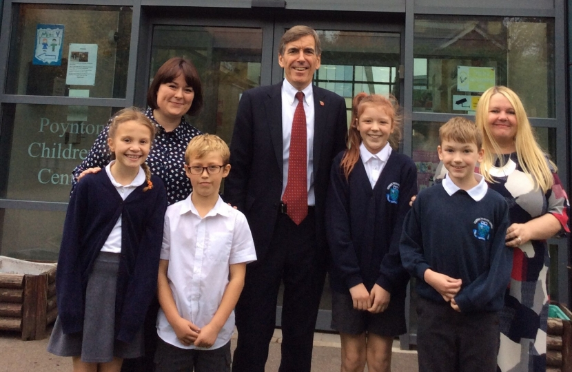 David Rutley MP with pupils and staff at Vernon Primary School