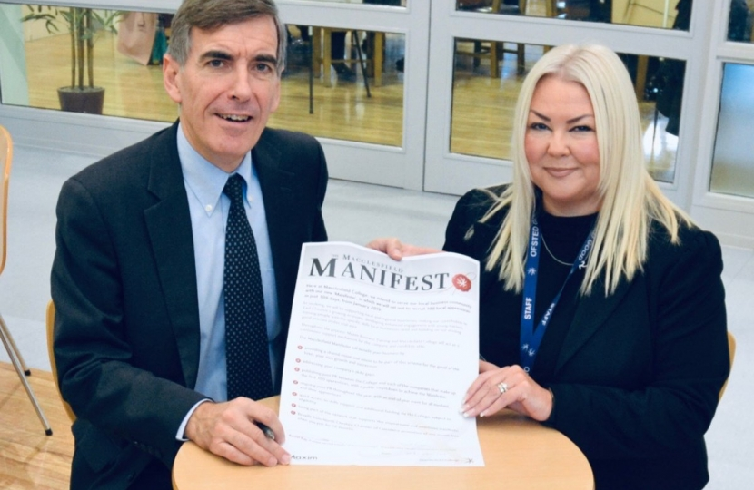 David Rutley MP with Ms Rachel Kay, Principal and Chief Executive of Macclesfield College