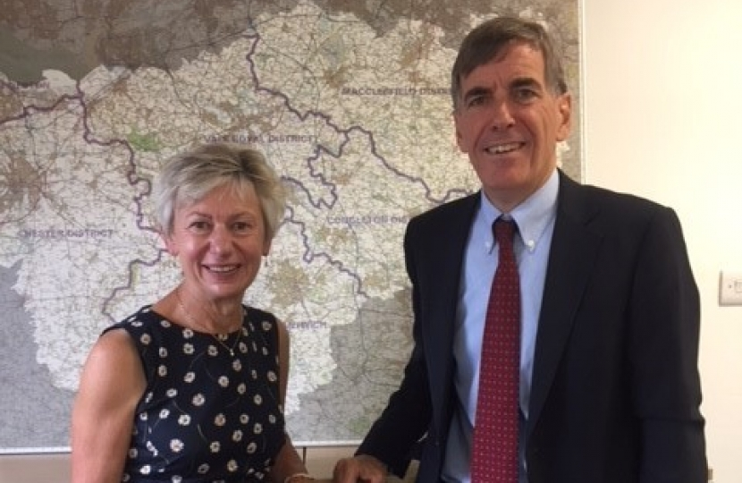 David Rutley MP with Cllr Rachel Bailey, Leader of Cheshire East Council