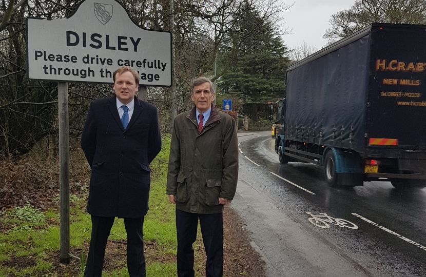 David Rutley MP with Will Wragg MP, outside Disley village
