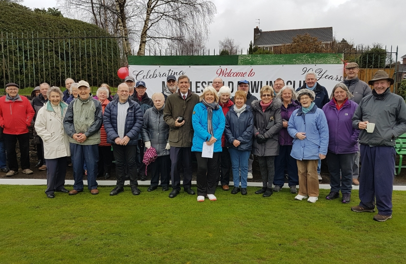 David Rutley MP with members of Macclesfield Bowling Club