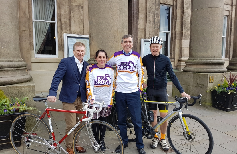 David Rutley MP with, l-r, David Johnson (event sponsor from John Douglas Menswear, Ann Wright (from Just Drop-In), and second Darren Allgood (event organiser)