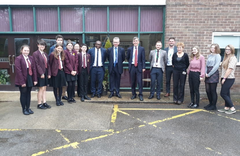 David Rutley MP with staff and pupils at Tytherington High School