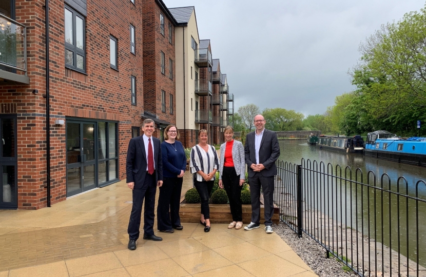 David Rutley MP with l-r, Helen Lowe (Operationss Director, Adlington), Ruth Jones (General Manager, The Bridges), Karen Gladman (Founding Partner, Adlington), Ed Gladman (Managing Director, Adlington)