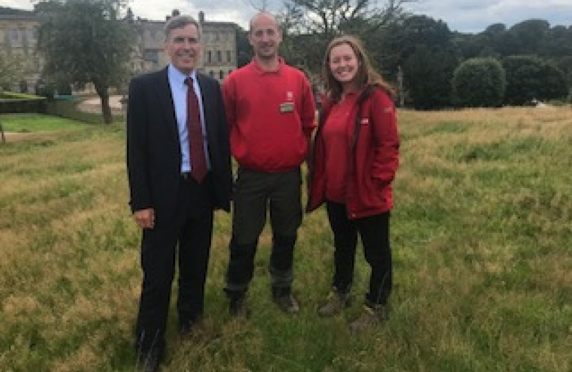 David Rutley MP with Claire Disley and Lead Ranger Chris Dunkerley