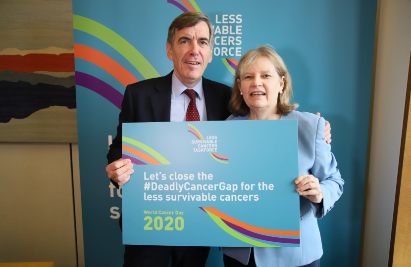 David Rutley MP with Jill Clark, a representative from Action Against Heartburn in the Less Survivable Cancers Taskforce